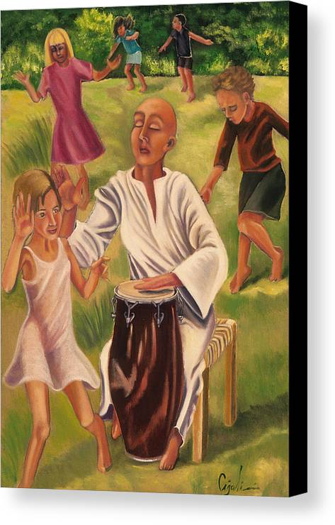 Children Canvas Print featuring the painting The Dance by Gloria Cigolini-DePietro