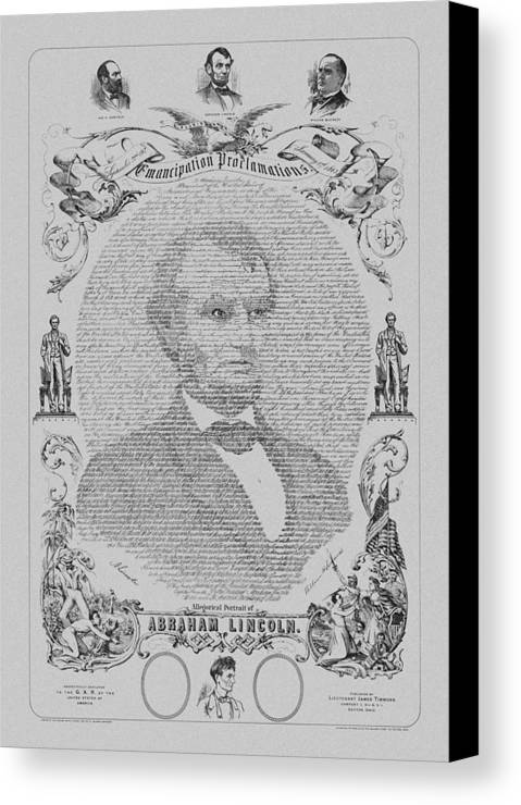 Emancipation Proclamation Canvas Print featuring the mixed media The Emancipation Proclamation by War Is Hell Store
