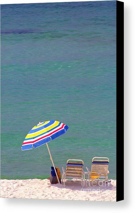 Florida Canvas Print featuring the photograph The Emerald Coast With Beach Chairs by Thomas R Fletcher