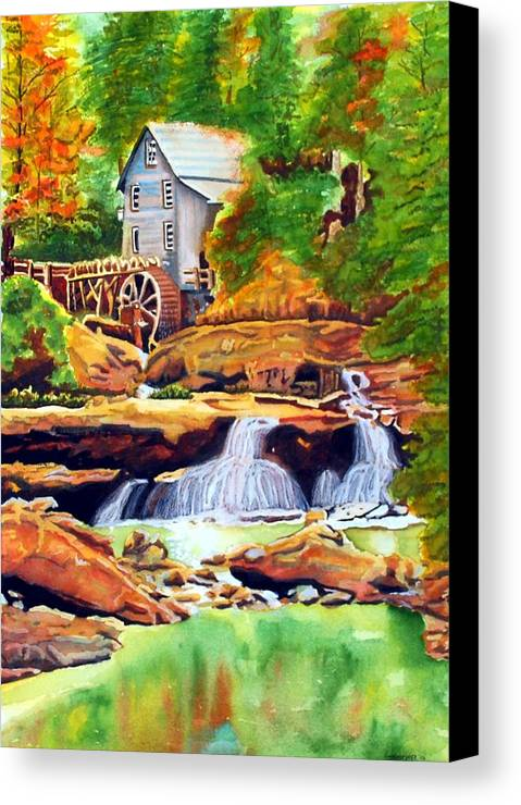 Watercolor Canvas Print featuring the painting The Grist Mill by Gerald Carpenter