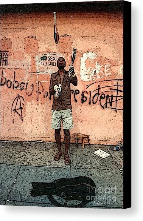 Male Portraits Canvas Print featuring the photograph The Juggler by Walter Oliver Neal
