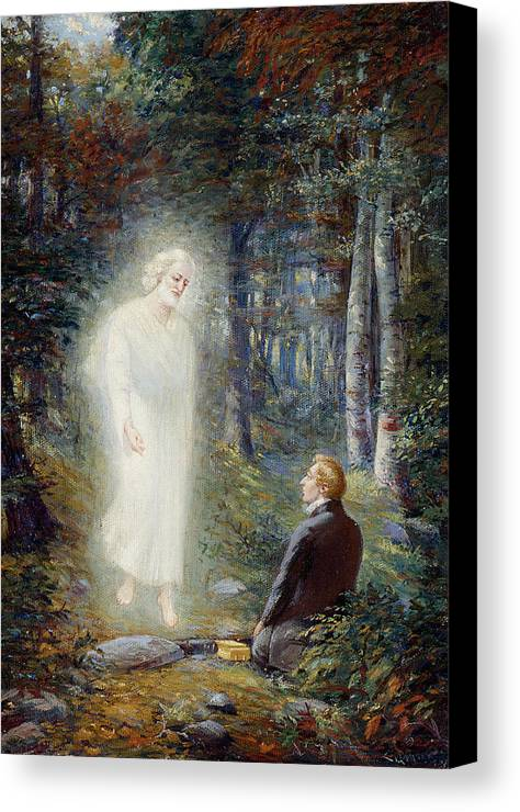 Angel Moroni Canvas Print featuring the painting The Restoration by Lewis A Ramsey