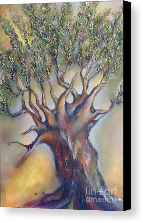 Tree Canvas Print featuring the painting The Sacred Tree by Despoina Ntarda