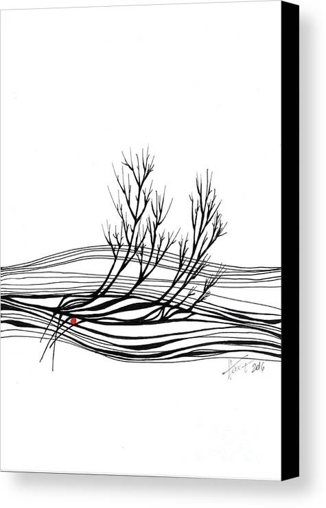 Trees Canvas Print featuring the drawing The Seed by Aniko Hencz