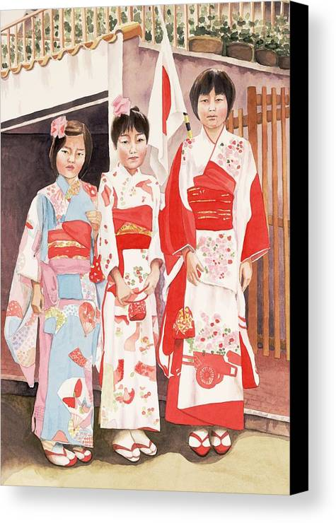 Three Japanese Girls In Kimono Canvas Print featuring the painting Three Sisters by Judy Swerlick