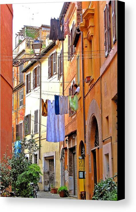 Europe Canvas Print featuring the photograph Trastevere by Birgit Presser