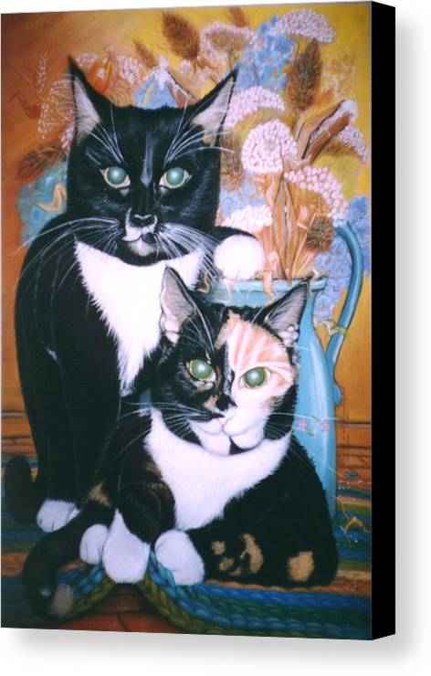 Cats Canvas Print featuring the painting Two Cats by Winifred Ann Weishampel