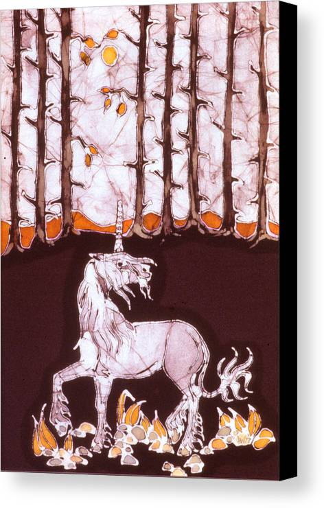 Unicorn Canvas Print featuring the tapestry - textile Unicorn Below Trees In Autumn by Carol Law Conklin