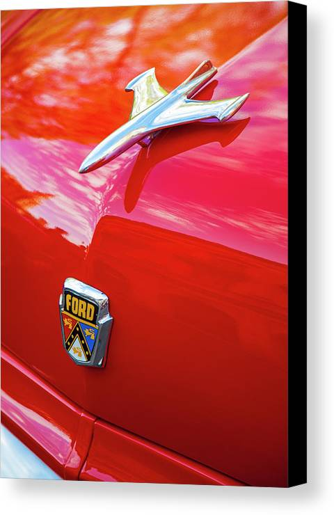 Vintage Ford Hood Ornament Havana Cuba Photography By Charles Harden Jet Plane Canvas Print featuring the photograph Vintage Ford Hood Ornament Havana Cuba by Charles Harden