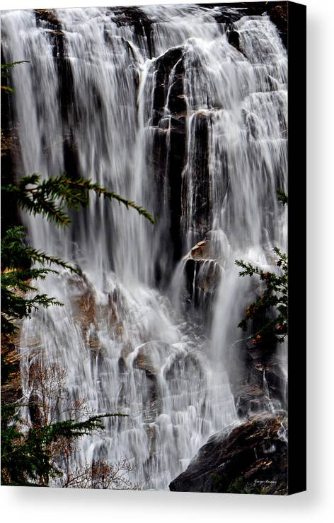 Whitewater Falls Canvas Print featuring the photograph Whitewater Falls Lower Falls 001 by George Bostian