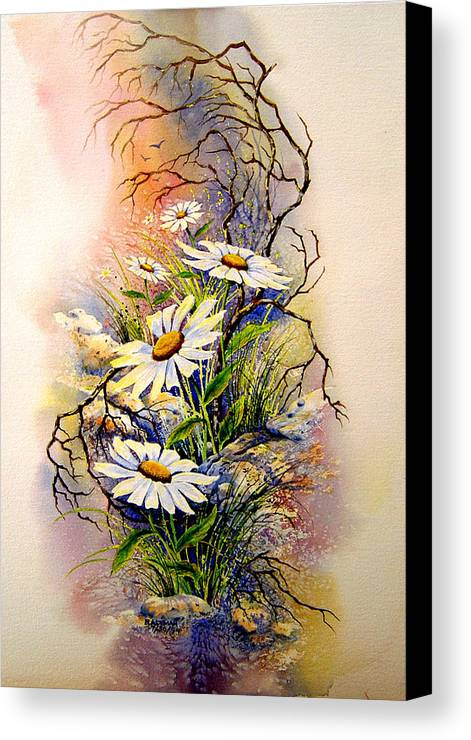 Floral Canvas Print featuring the painting Wild Daisies by Brooke Lyman