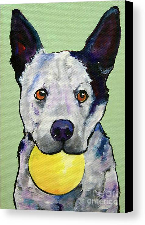 Australian Cattle Dog Canvas Print featuring the painting Yellow Ball by Pat Saunders-White