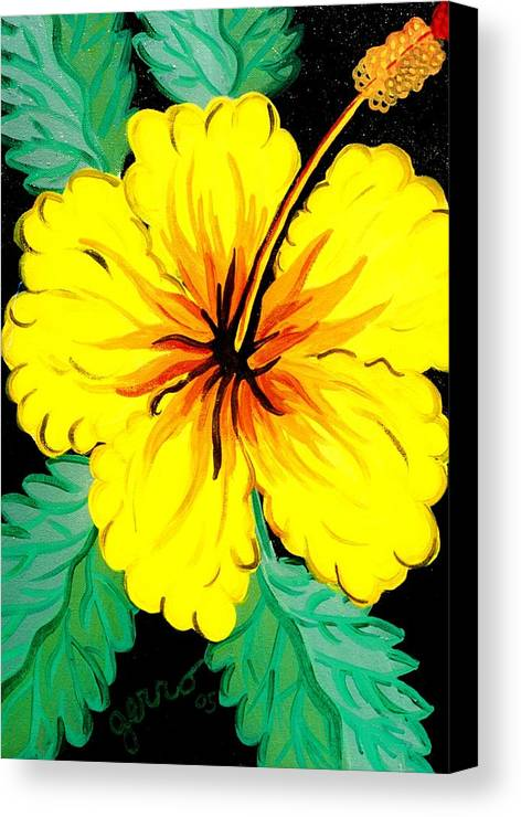 Hibiscus Artwork Canvas Print featuring the painting Yellow Hibiscus by Helen Gerro