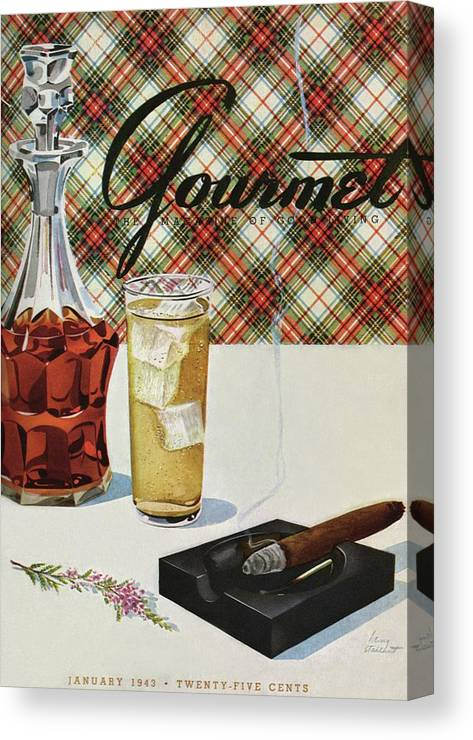 Illustration Canvas Print featuring the photograph A Cigar In An Ashtray Beside A Drink And Decanter by Henry Stahlhut
