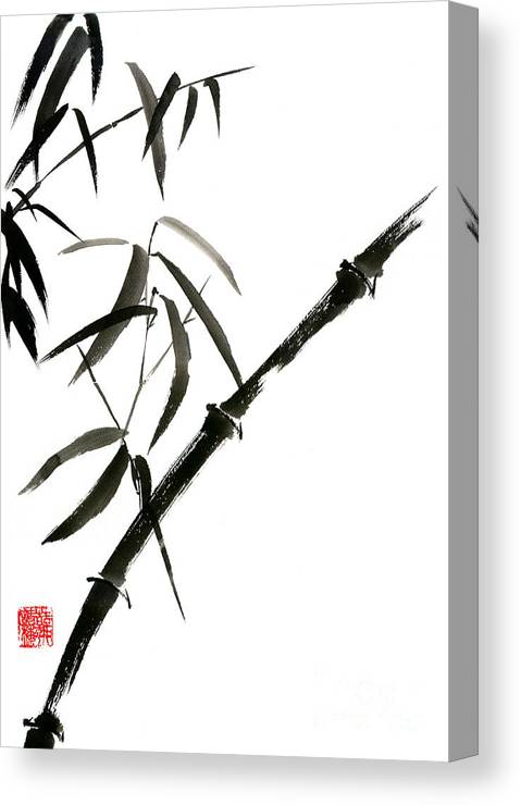 Bamboo Canvas Print featuring the painting Bamboo Japanese Chinese Sumi-e Suibokuga Tree Watercolor Original Ink Painting by Mariusz Szmerdt