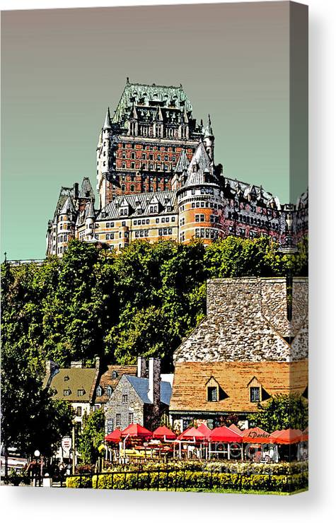 Impressionism Canvas Print featuring the photograph Chateau In Old Quebec by Linda Parker