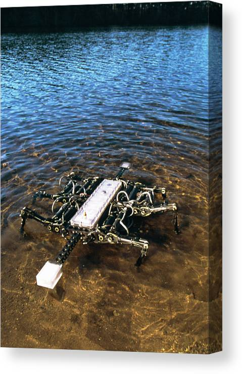 Robot Canvas Print featuring the photograph Crab Robot by Peter Menzel/science Photo Library
