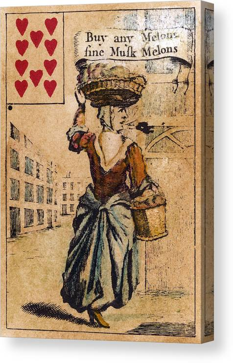 1754 Canvas Print featuring the painting English Playing Card, C1754 by Granger