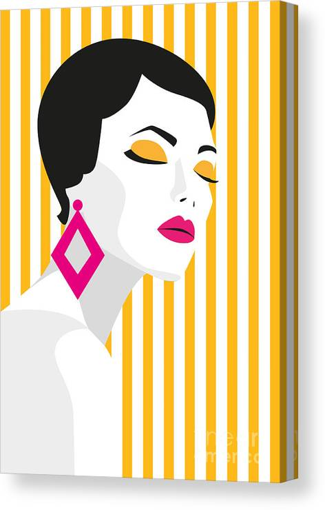 Makeup Canvas Print featuring the digital art Fashion Girl. Bold, Minimal Style. Pop by Mary stocker