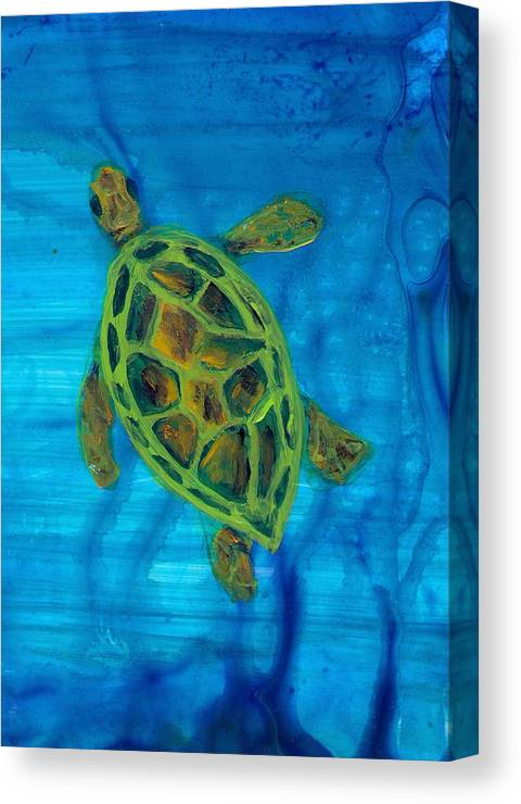 Turtle Canvas Print featuring the painting Going Up For Air by Wanda Pepin