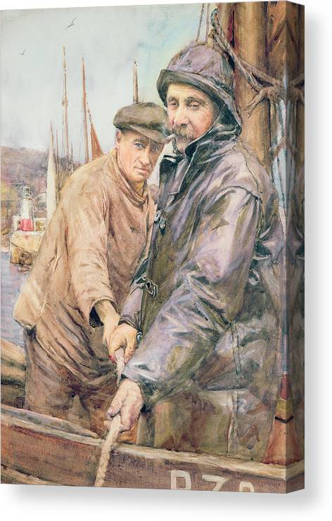 Cornish Canvas Print featuring the drawing Hauling In The Net by Henry Meynell Rheam