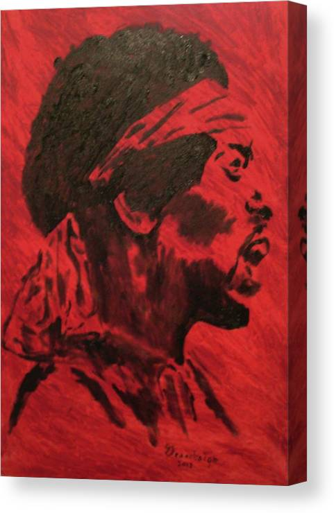 Rockstar Canvas Print featuring the painting Jimi by Mark Greenhalgh