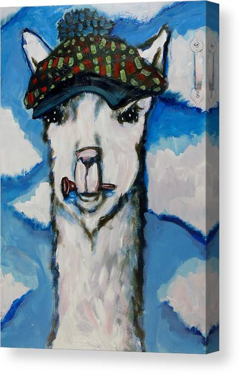Llama Canvas Print featuring the painting llama Caddy by Kimberly Dawn Clayton