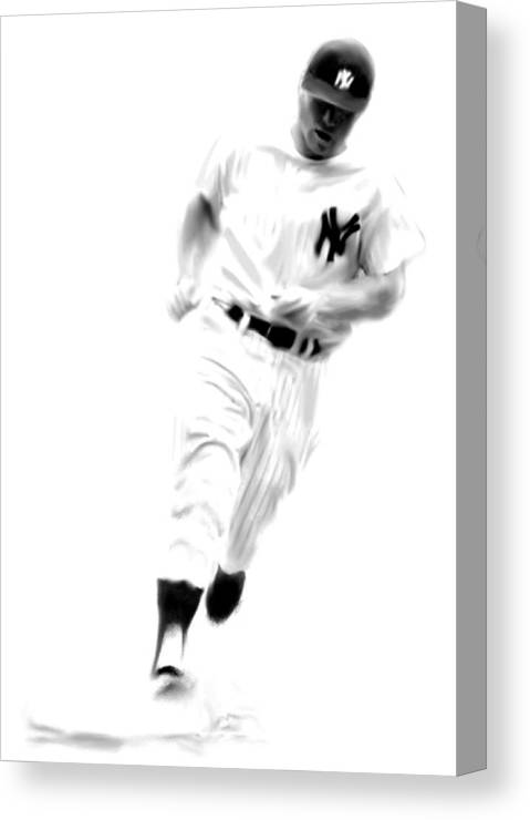 Mickey Mantle Art Paintings Paintings Paintings Canvas Print featuring the drawing Mantles Gate Mickey Mantle by Iconic Images Art Gallery David Pucciarelli