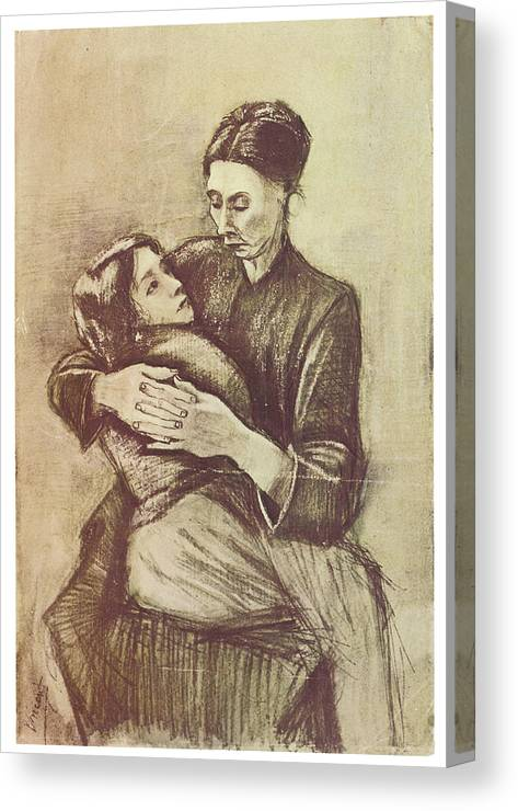 Vincent Van Gogh Canvas Print featuring the drawing Mother And Child by Vincent Van Gogh