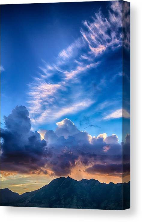 Sunrise Canvas Print featuring the photograph Pink Cloud Trails Over Mount Olympus by Mitch Johanson