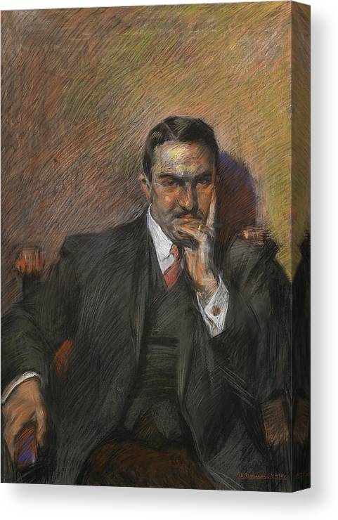 Boccioni Canvas Print featuring the pastel Portrait Of Innocenzo Massimino by Umberto Boccioni