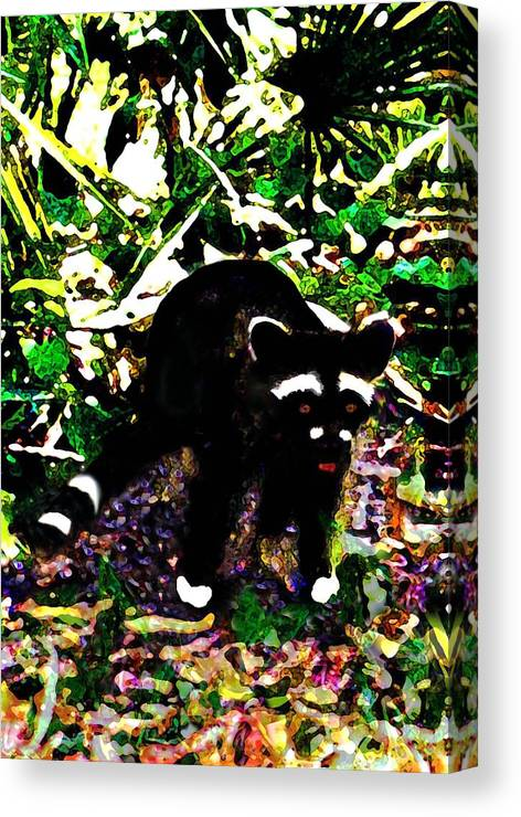 Digital Canvas Print featuring the digital art Racoon At Faver-dykes Park by Dane Ann Smith Johnsen