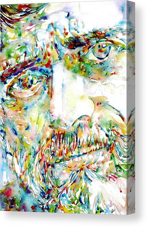 Terence Mckenna Art >> Terence Mckenna Watercolor Portrait 1 Canvas Print