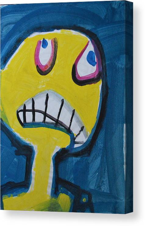 Abstract Outsider Raw Modern Folk Portrait Face Yellow Blue Figure Guy Man Canvas Print featuring the painting Troy by Nancy Mauerman