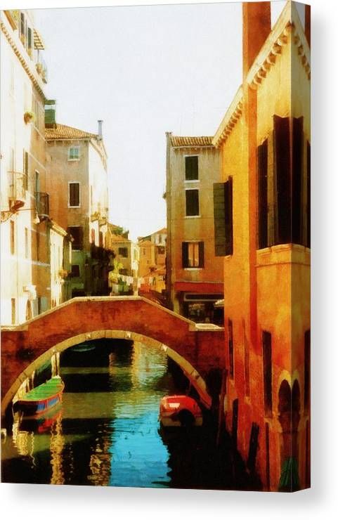 Venice Canvas Print featuring the photograph Venice Italy Canal With Boats And Laundry by Michelle Calkins