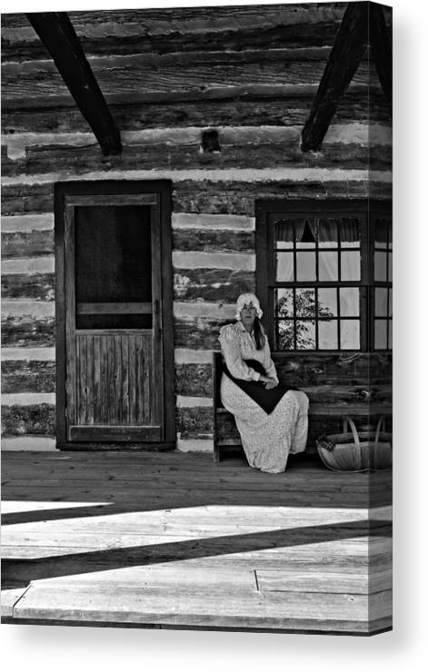 Grey Roots Museum & Archives Canvas Print featuring the photograph Canadian Gothic Monochrome by Steve Harrington