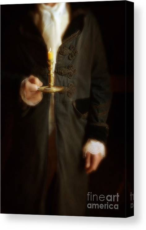 Gentleman Canvas Print featuring the photograph Gentleman In Vintage Clothing Holding A Candlestick by Jill Battaglia