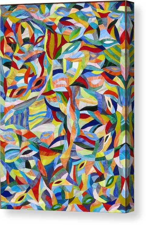 Stained Glass Mosaic Canvas Print featuring the glass art Morpheus Rising by Charles McDonell