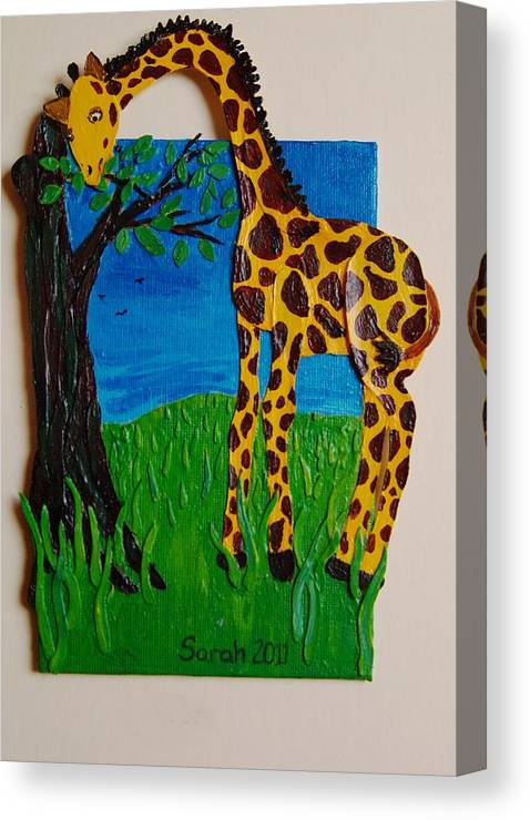Giraffe Canvas Print featuring the mixed media Snack Time For Giraffe by Sarah Swift