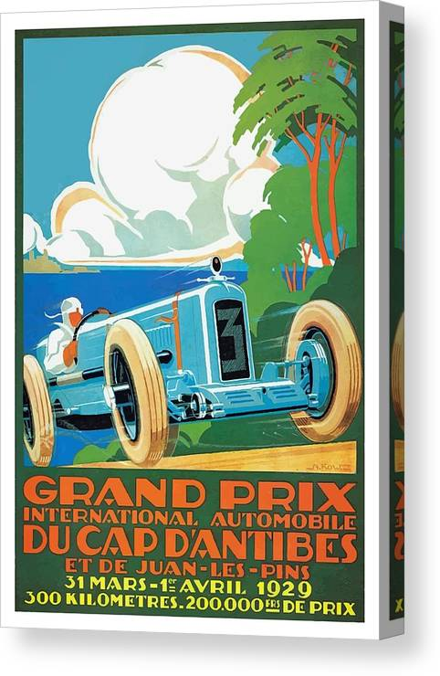F1 Racing Canvas Print featuring the digital art 1929 Cap D'antibes Grand Prix Racing Poster by Retro Graphics