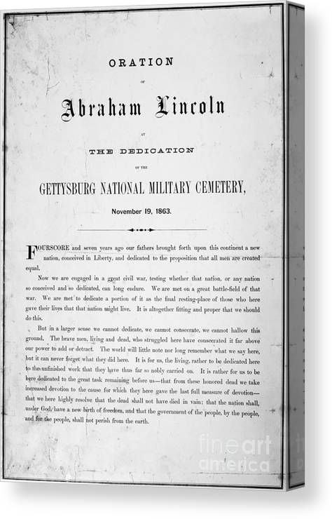 graphic relating to Gettysburg Address Printable named Gettysburg Go over, 1863 Canvas Print