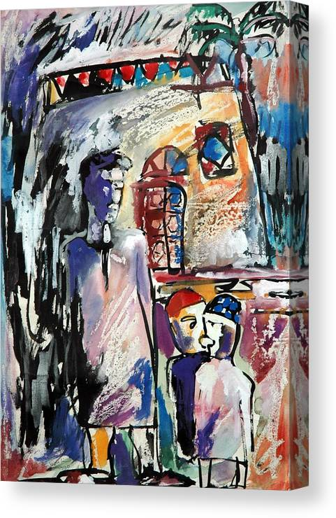 Aswan Pepol-egypt Canvas Print featuring the painting Panting by Ibrahim El tanbouli