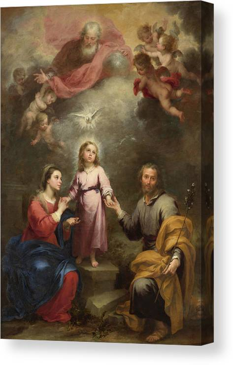 Christian Canvas Print featuring the painting The Heavenly And Earthly Trinities by Bartolome Esteban Murillo