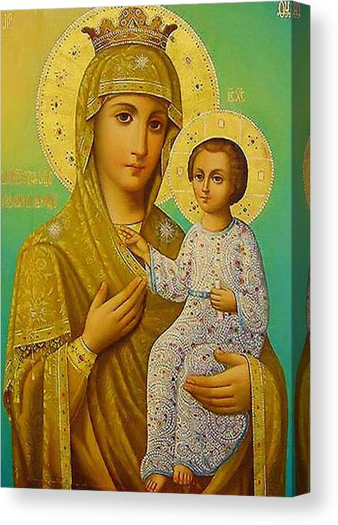 Virgin And Child Canvas Print featuring the digital art Virgin And Child Icon Christian Art by Carol Jackson
