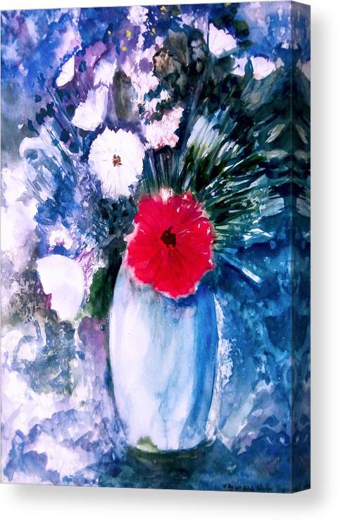 Abstract Flowers Canvas Print featuring the painting Abstract Flowers by Tuhin Rao