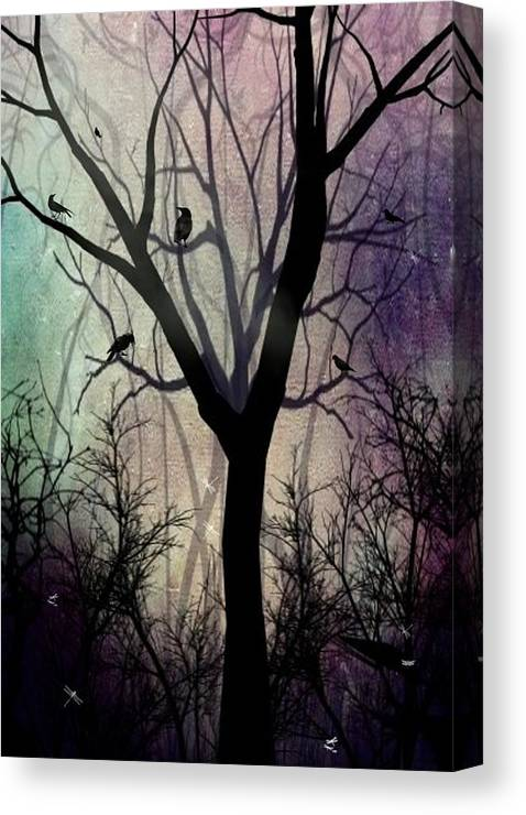 Trees Canvas Print featuring the digital art After Twilight by Charlene Zatloukal