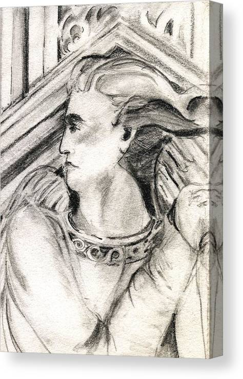 Drawing Canvas Print featuring the drawing Angel Of Orieveto Italy by Mindy Newman