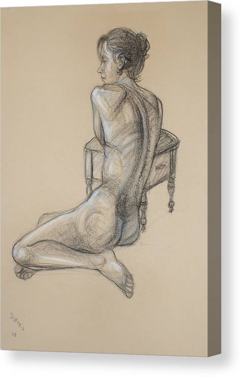 Realism Canvas Print featuring the drawing Back Nude 2 by Donelli DiMaria