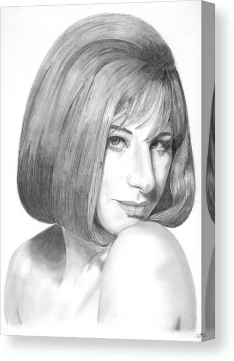 Singer Canvas Print featuring the drawing Barbra Streisand by Rob De Vries