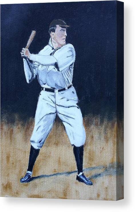 Honus Wagner Canvas Print featuring the painting Baseball Legend by Ralph LeCompte